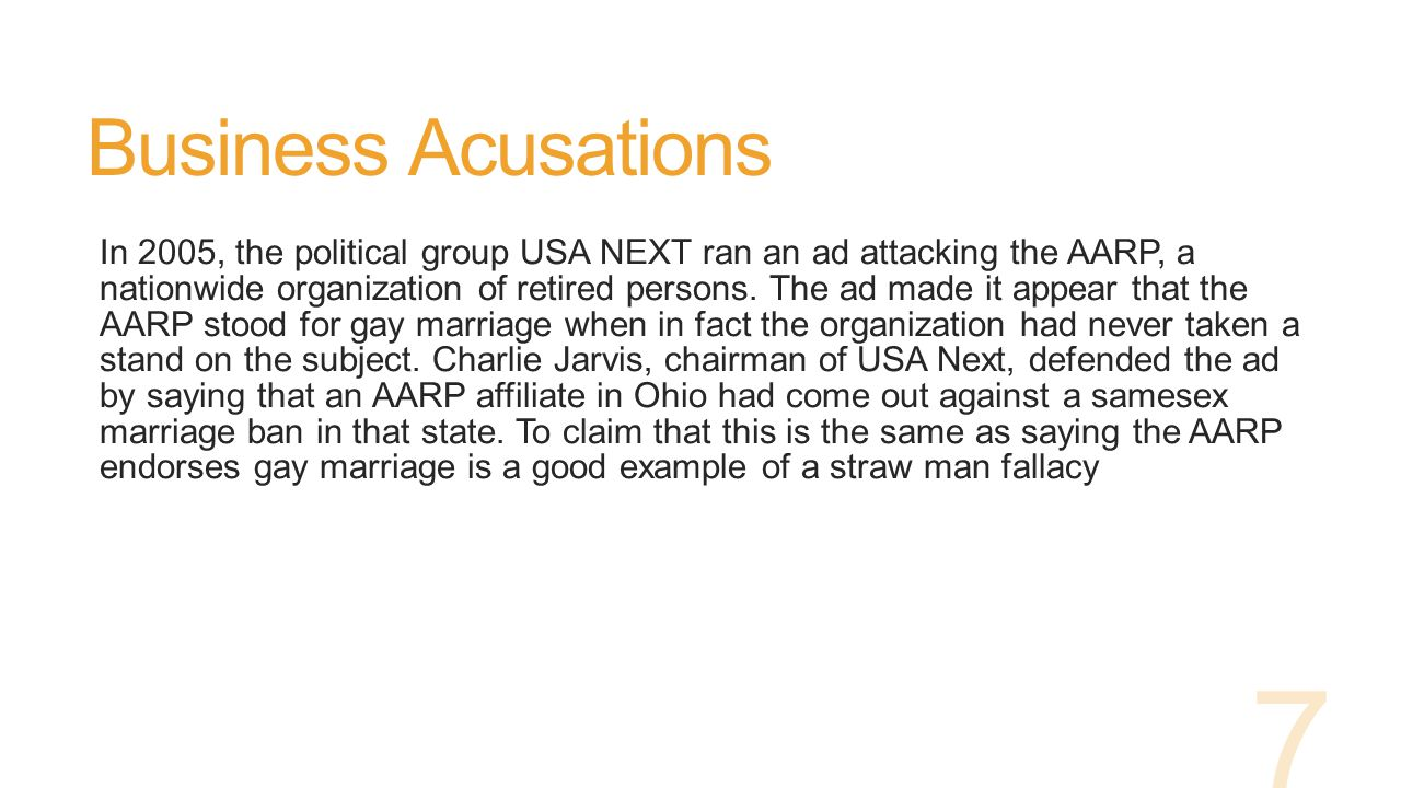Business Acusations In 2005, the political group USA NEXT ran an ad attacking the AARP, a nationwide organization of retired persons.