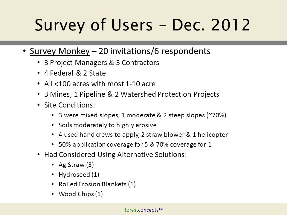 forestconcepts™ Survey of Users – Dec.