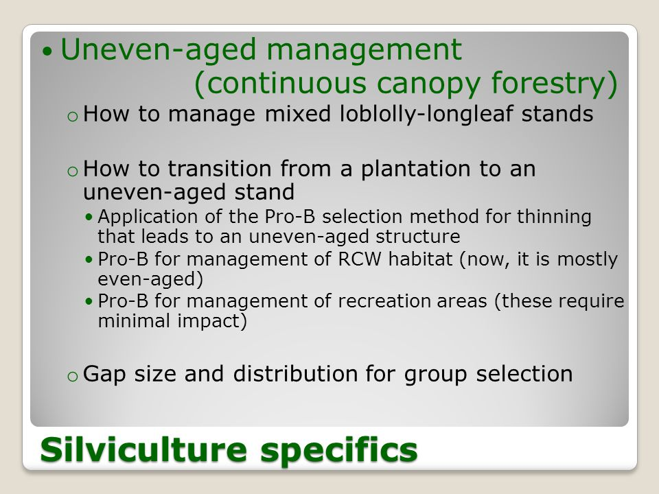 Silviculture specifics Uneven-aged management (continuous canopy forestry) o How to manage mixed loblolly-longleaf stands o How to transition from a plantation to an uneven-aged stand Application of the Pro-B selection method for thinning that leads to an uneven-aged structure Pro-B for management of RCW habitat (now, it is mostly even-aged) Pro-B for management of recreation areas (these require minimal impact) o Gap size and distribution for group selection