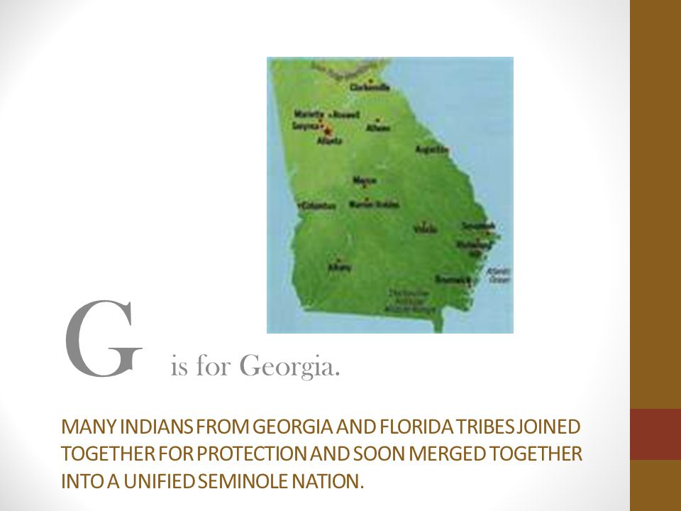 MANY INDIANS FROM GEORGIA AND FLORIDA TRIBES JOINED TOGETHER FOR PROTECTION AND SOON MERGED TOGETHER INTO A UNIFIED SEMINOLE NATION.