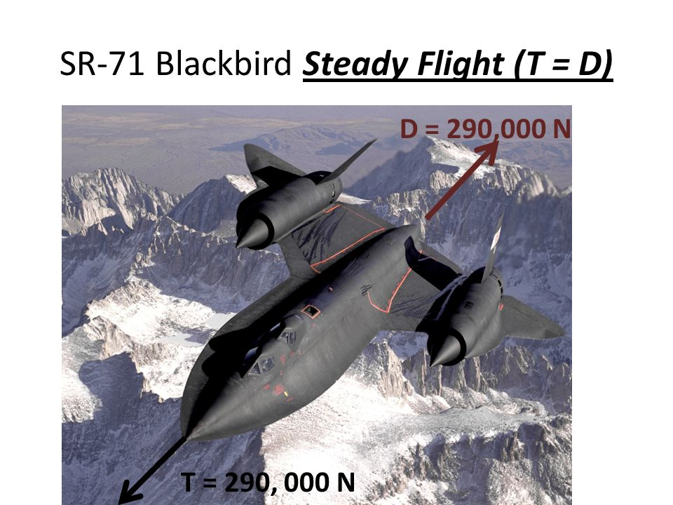 SR-71 Blackbird Steady Flight (T = D) T = 290, 000 N D = 290,000 N