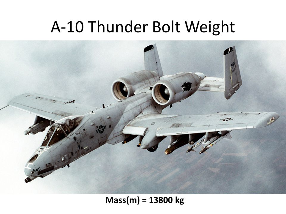 A-10 Thunder Bolt Weight W = ?Mass(m) = 13800 kg