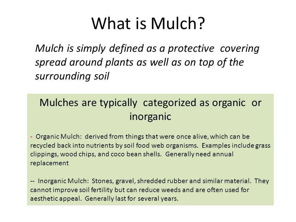 What types of Mulch are used in the NCD.