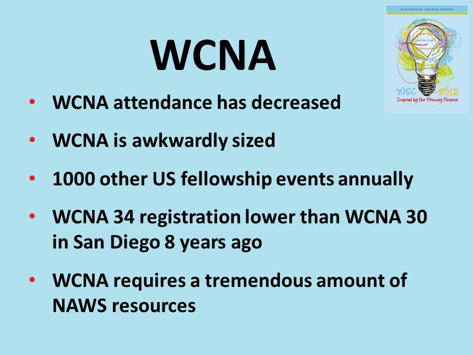 WCNA WCNA attendance has decreased WCNA is awkwardly sized 1000 other US fellowship events annually WCNA 34 registration lower than WCNA 30 in San Diego 8 years ago WCNA requires a tremendous amount of NAWS resources