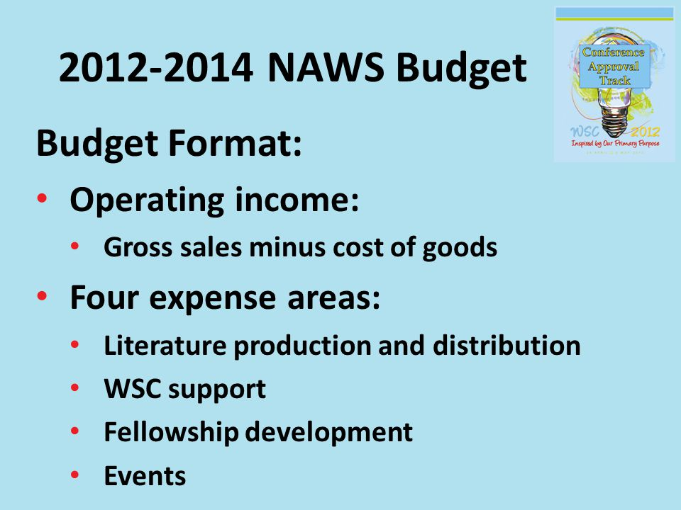 2012-2014 NAWS Budget Budget Format: Operating income: Gross sales minus cost of goods Four expense areas: Literature production and distribution WSC support Fellowship development Events