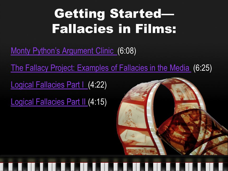 Getting Started— Fallacies in Films: Monty Python's Argument Clinic Monty Python's Argument Clinic (6:08) The Fallacy Project: Examples of Fallacies i