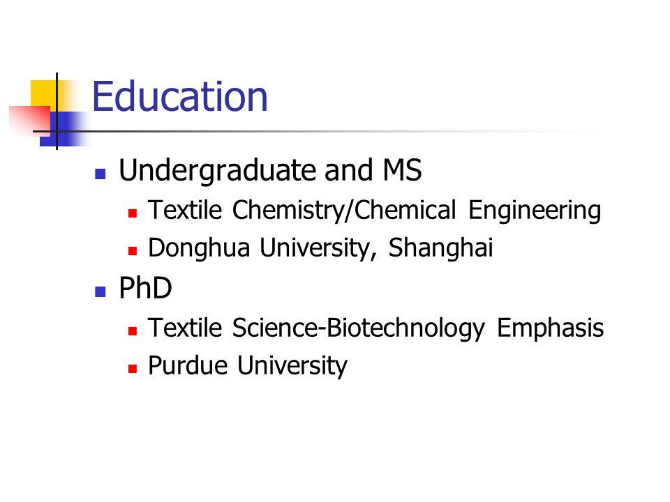 Career Path Assist Prof of Textile Science-UIUC Assoc/Full Prof of Textile Chemical Engineering-ITT Senior Res.