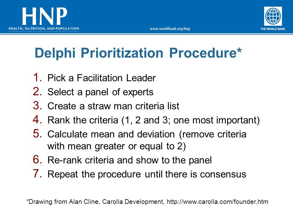 Delphi Prioritization Procedure* 1. Pick a Facilitation Leader 2. Select a panel of experts 3. Create a straw man criteria list 4. Rank the criteria (