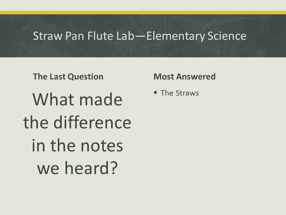 The Last Question What made the difference in the notes we heard Most Answered  The Straws