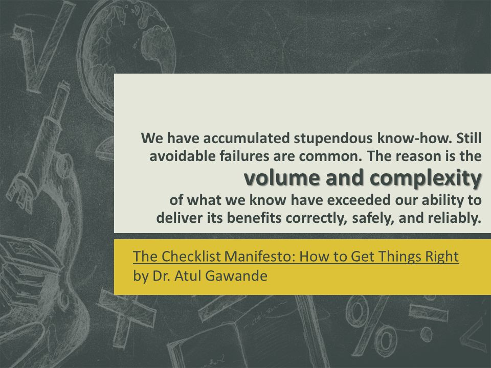 volume and complexity We have accumulated stupendous know-how.