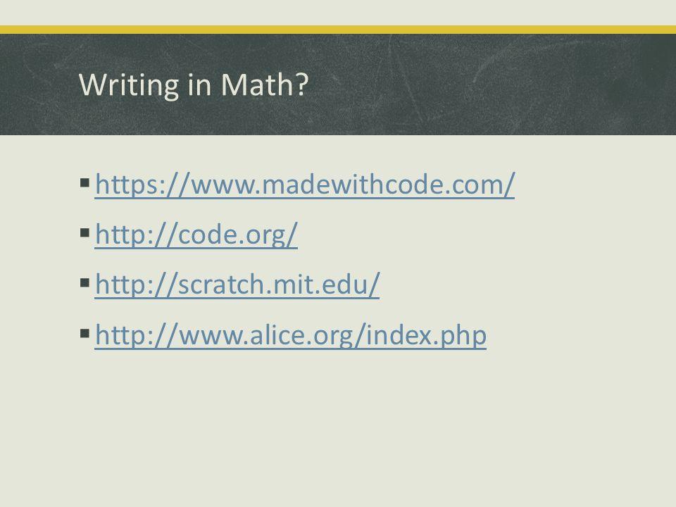 Writing in Math.