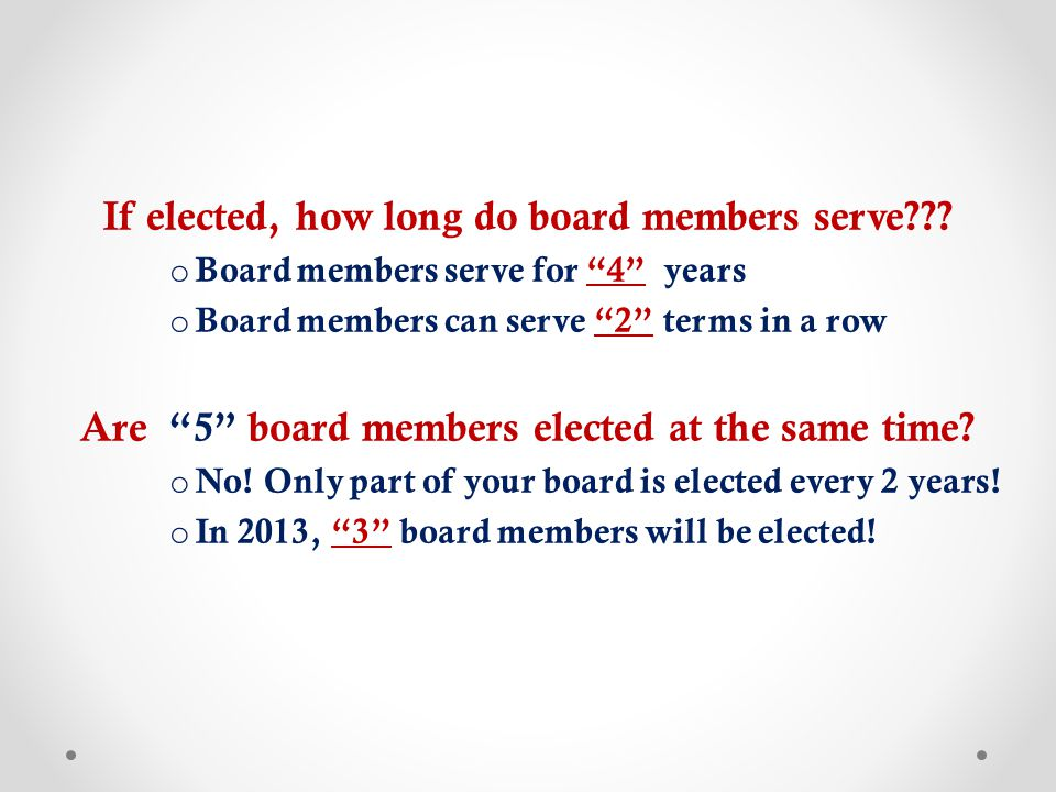 If elected, how long do board members serve .
