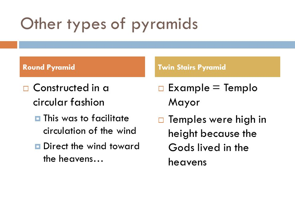 Other types of pyramids  Constructed in a circular fashion  This was to facilitate circulation of the wind  Direct the wind toward the heavens…  Example = Templo Mayor  Temples were high in height because the Gods lived in the heavens Round PyramidTwin Stairs Pyramid