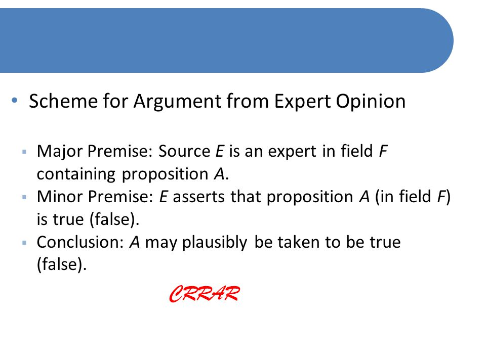 Scheme for Argument from Expert Opinion  Major Premise: Source E is an expert in field F containing proposition A.