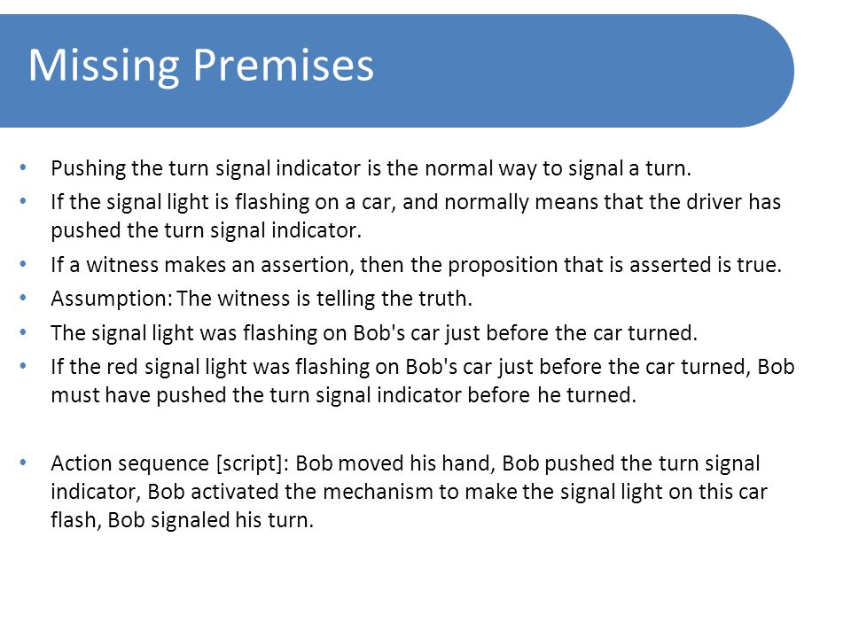 Missing Premises Pushing the turn signal indicator is the normal way to signal a turn.