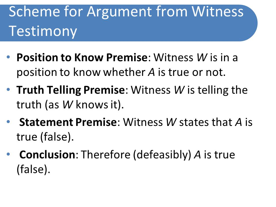 Scheme for Argument from Witness Testimony Position to Know Premise: Witness W is in a position to know whether A is true or not.