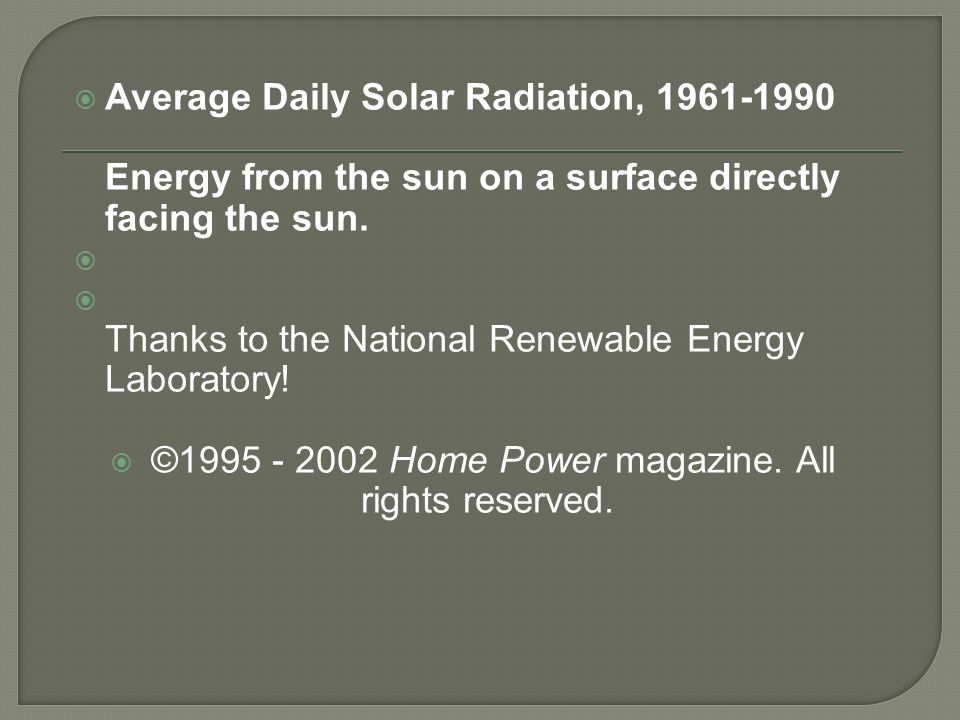  Average Daily Solar Radiation, 1961-1990 Energy from the sun on a surface directly facing the sun.