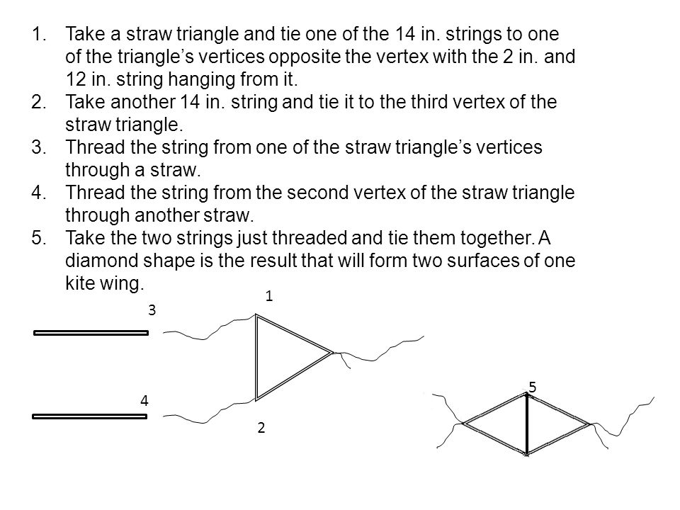 1.Take a straw triangle and tie one of the 14 in.