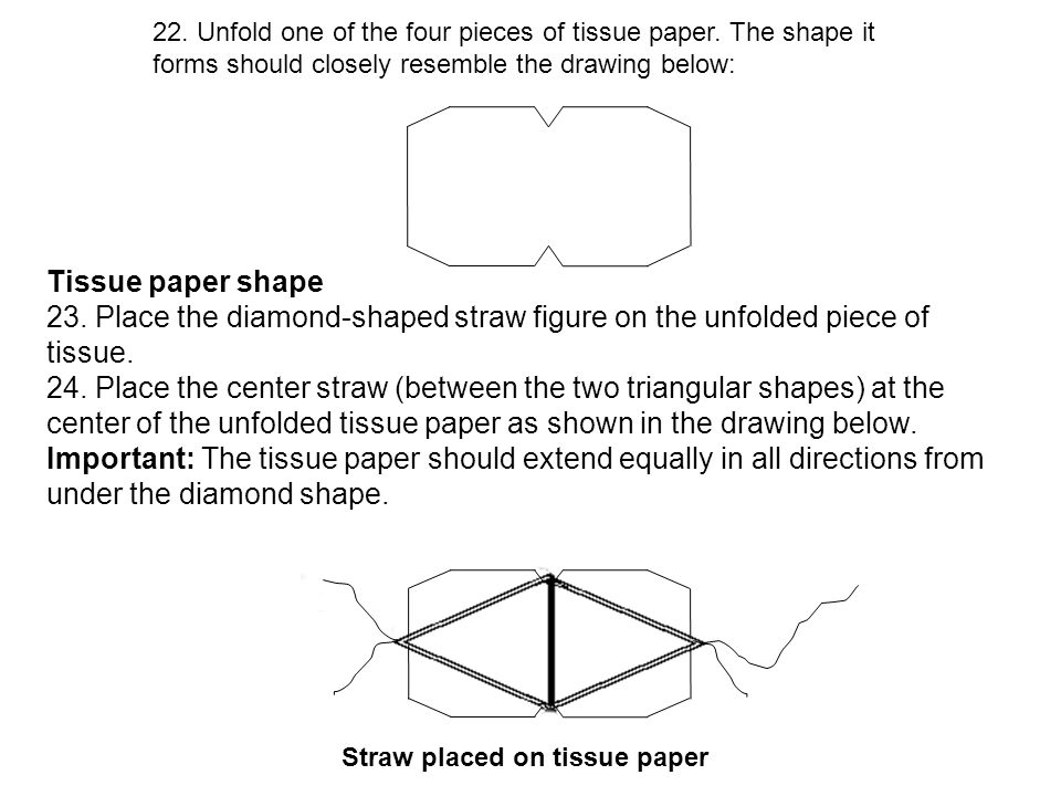 22. Unfold one of the four pieces of tissue paper.