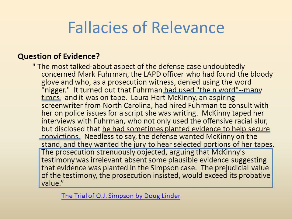 Fallacies of Relevance Question of Evidence.
