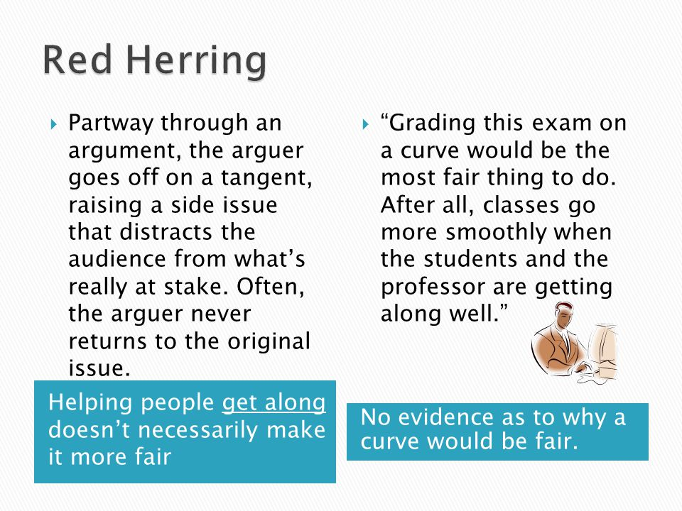 Helping people get along doesn't necessarily make it more fair No evidence as to why a curve would be fair.  Partway through an argument, the arguer
