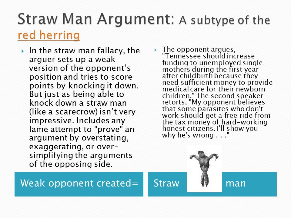 Weak opponent created=Straw man  In the straw man fallacy, the arguer sets up a weak version of the opponent's position and tries to score points by