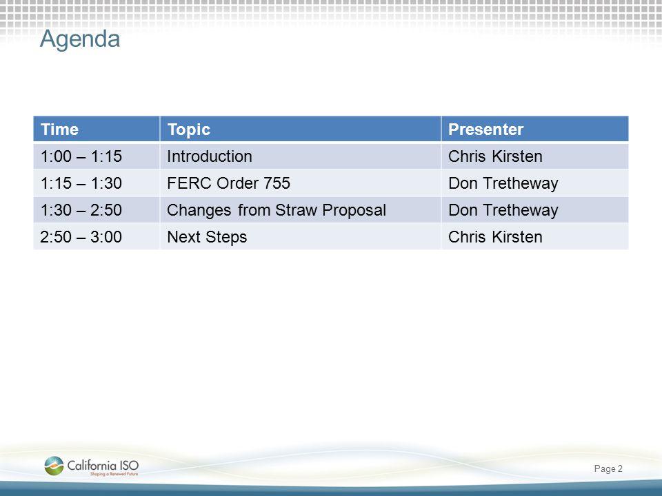 Agenda TimeTopicPresenter 1:00 – 1:15IntroductionChris Kirsten 1:15 – 1:30FERC Order 755Don Tretheway 1:30 – 2:50Changes from Straw ProposalDon Tretheway 2:50 – 3:00Next StepsChris Kirsten Page 2