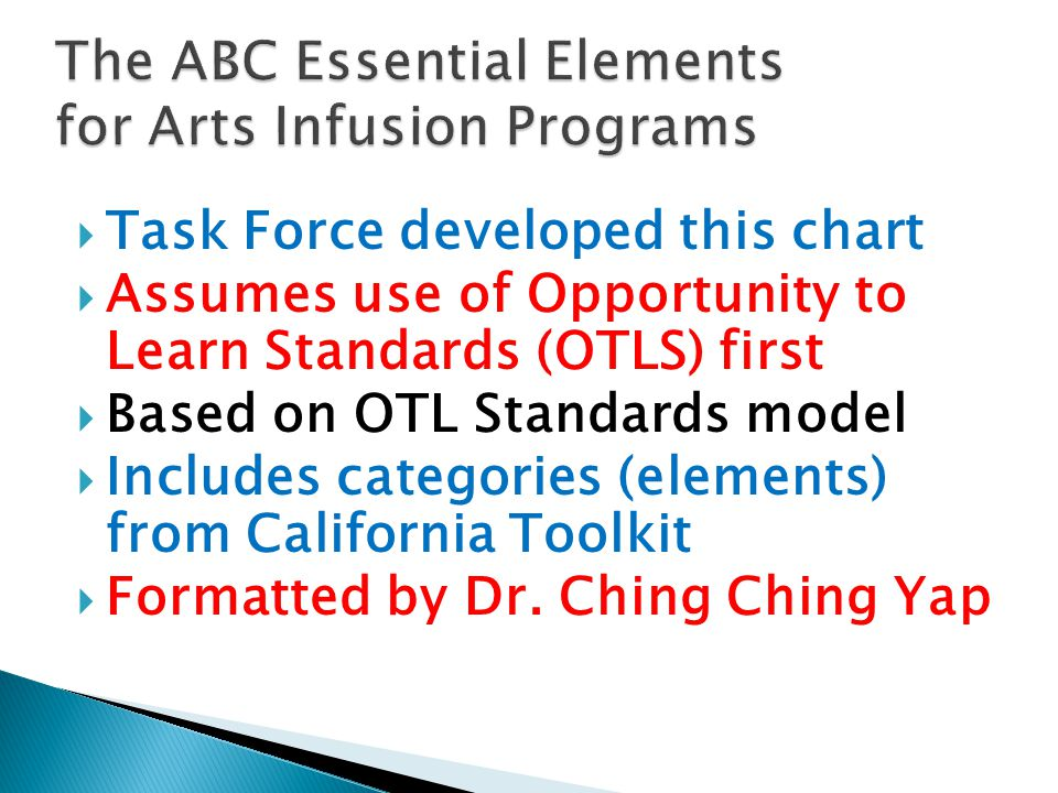  Task Force developed this chart  Assumes use of Opportunity to Learn Standards (OTLS) first  Based on OTL Standards model  Includes categories (elements) from California Toolkit  Formatted by Dr.