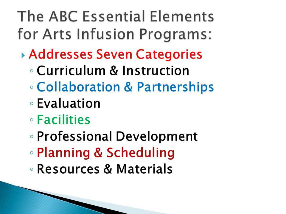  Addresses Seven Categories ◦ Curriculum & Instruction ◦ Collaboration & Partnerships ◦ Evaluation ◦ Facilities ◦ Professional Development ◦ Planning & Scheduling ◦ Resources & Materials