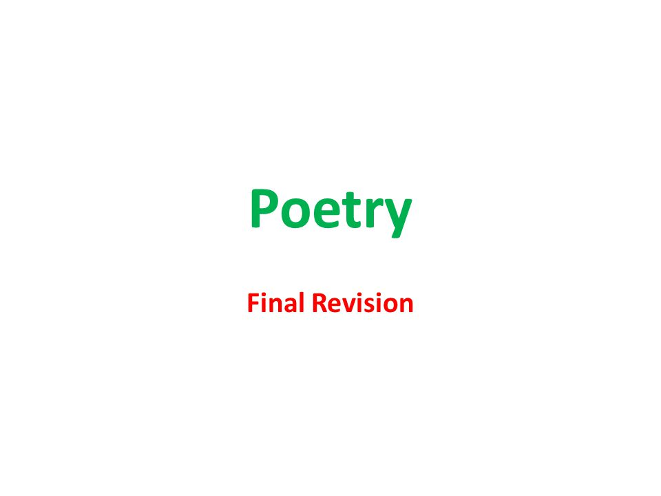 Poetry Final Revision