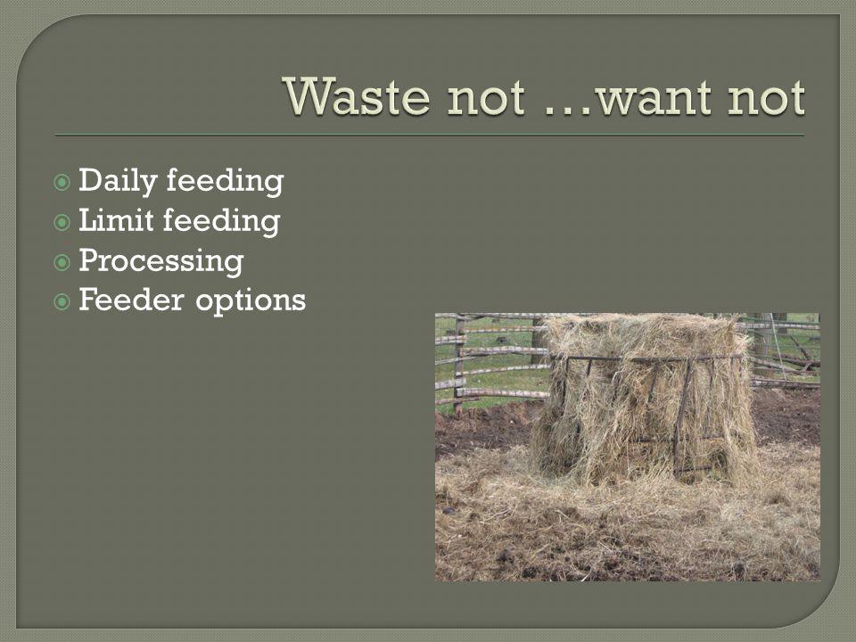  Daily feeding  Limit feeding  Processing  Feeder options
