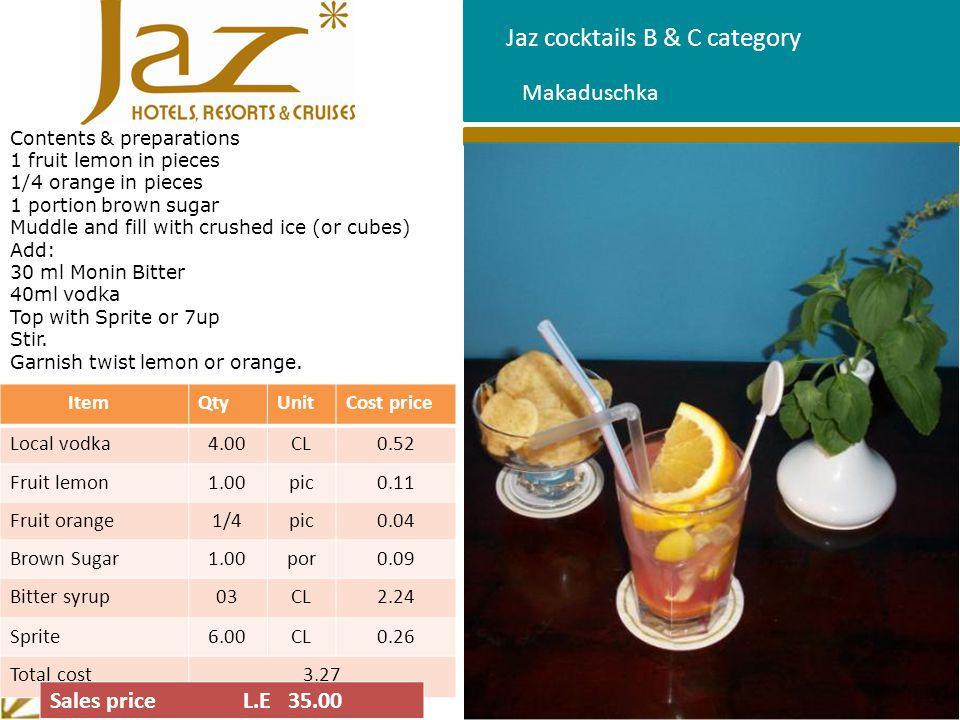 Jaz cocktails B & C category Makaduschka ItemQtyUnitCost price Local vodka4.00CL0.52 Fruit lemon1.00pic0.11 Fruit orange1/4pic0.04 Brown Sugar1.00por0