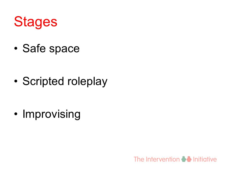 Stages Safe space Scripted roleplay Improvising