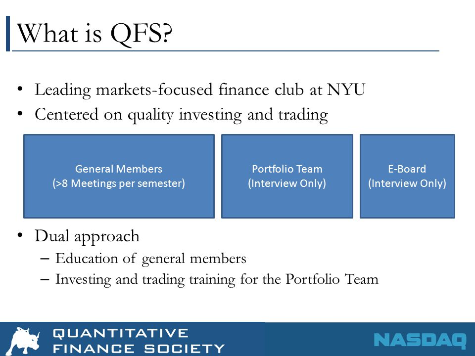QFS Portfolio Team Open House Interested in joining.