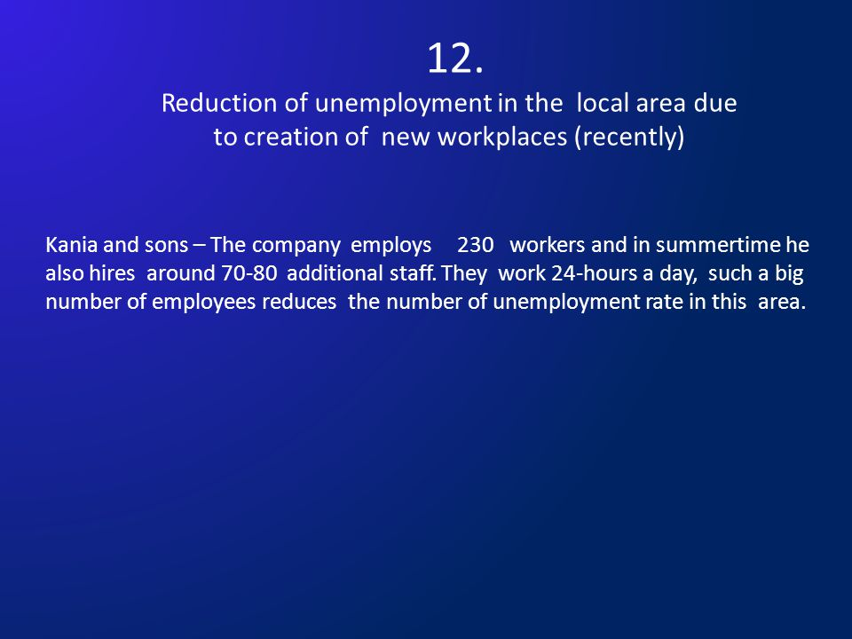 12. Reduction of unemployment in the local area due to creation of new workplaces (recently) Kania and sons – The company employs 230 workers and in s