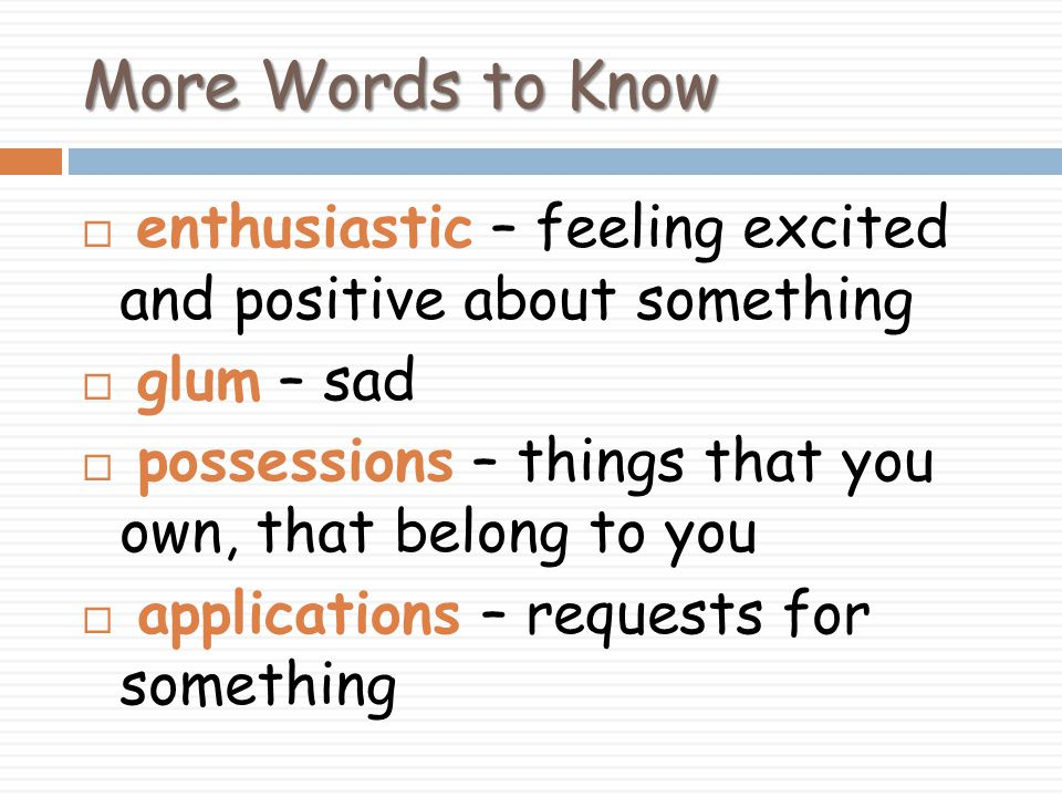 More Words to Know  enthusiastic – feeling excited and positive about something  glum – sad  possessions – things that you own, that belong to you  applications – requests for something