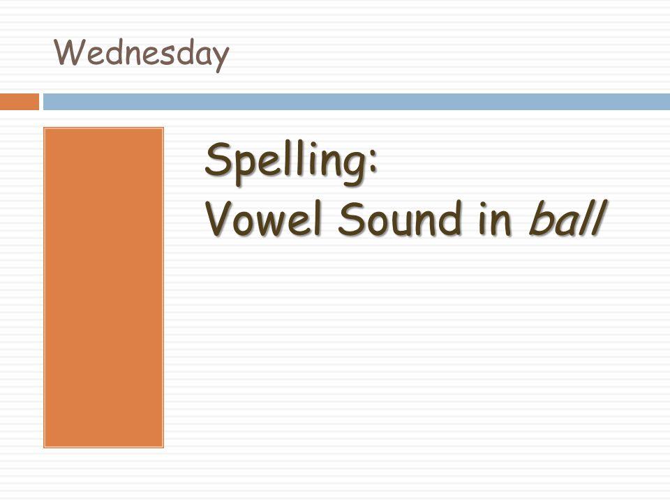 Wednesday Spelling: Vowel Sound in ball