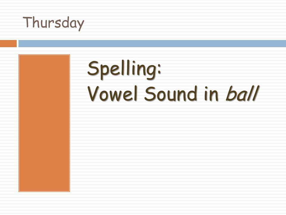 Thursday Spelling: Vowel Sound in ball