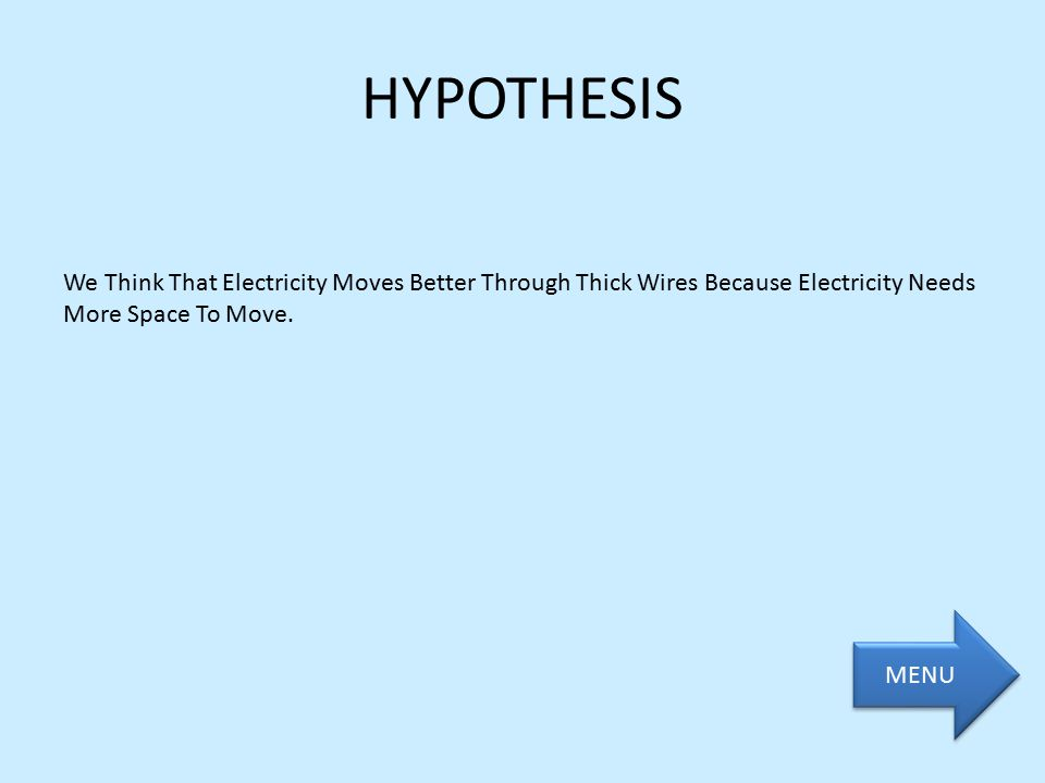 HYPOTHESIS We Think That Electricity Moves Better Through Thick Wires Because Electricity Needs More Space To Move. MENU