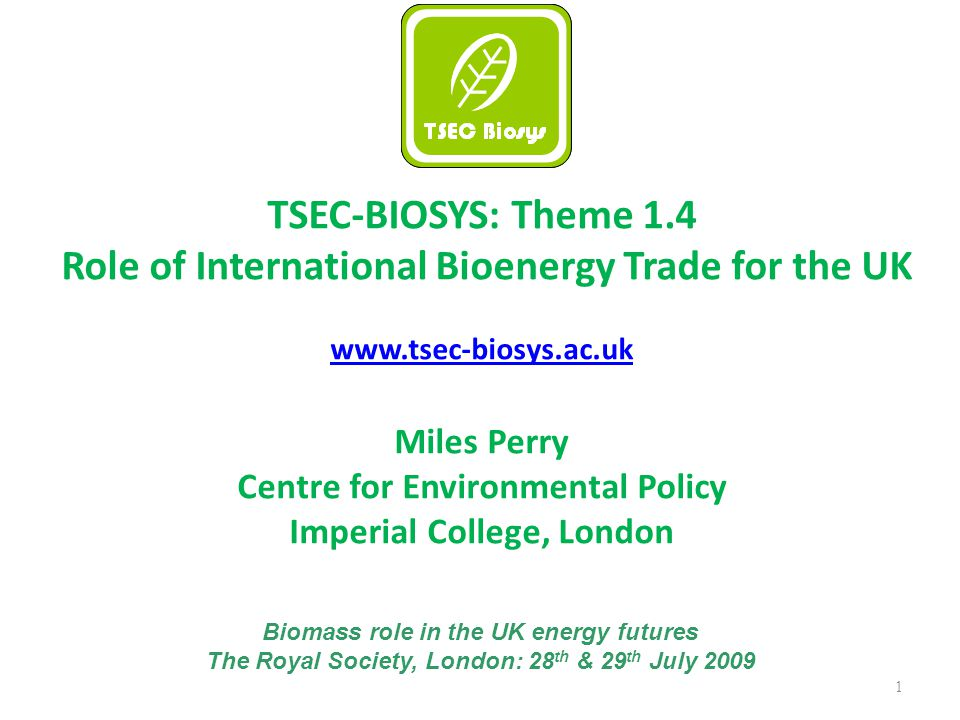 1 TSEC-BIOSYS: Theme 1.4 Role of International Bioenergy Trade for the UK www.tsec-biosys.ac.uk Miles Perry Centre for Environmental Policy Imperial College, London Biomass role in the UK energy futures The Royal Society, London: 28 th & 29 th July 2009