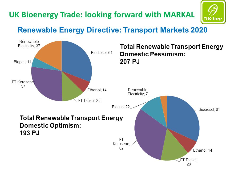 UK Bioenergy Trade: looking forward with MARKAL Renewable Energy Directive: Transport Markets 2020 Total Renewable Transport Energy Domestic Pessimism: 207 PJ Total Renewable Transport Energy Domestic Optimism: 193 PJ