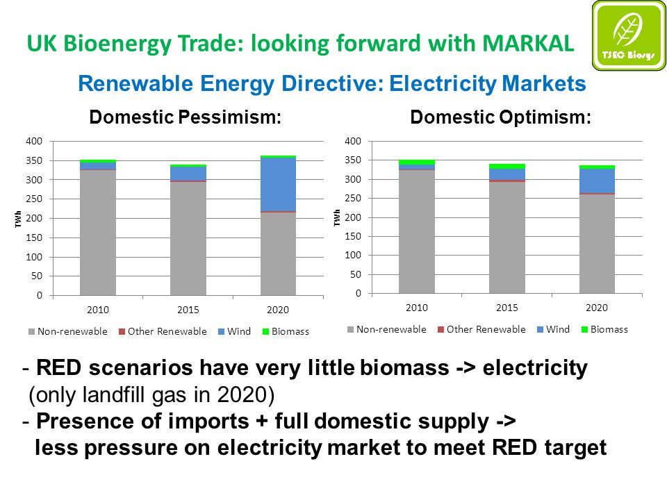 UK Bioenergy Trade: looking forward with MARKAL Renewable Energy Directive: Electricity Markets Domestic Pessimism:Domestic Optimism: - RED scenarios have very little biomass -> electricity (only landfill gas in 2020) - Presence of imports + full domestic supply -> less pressure on electricity market to meet RED target
