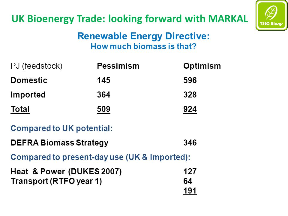 UK Bioenergy Trade: looking forward with MARKAL Renewable Energy Directive: How much biomass is that.