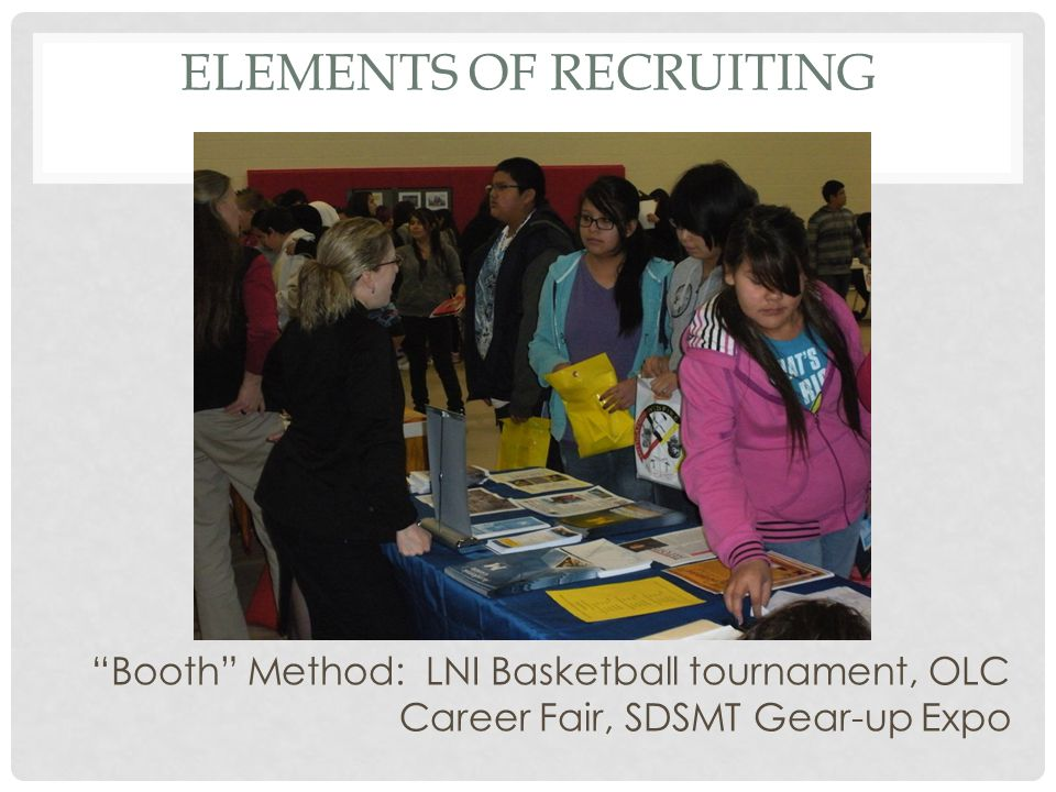 ELEMENTS OF RECRUITING Booth Method: LNI Basketball tournament, OLC Career Fair, SDSMT Gear-up Expo