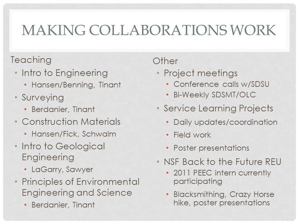 COLLABORATIONS ESTABLISHED AS A RESULT OF PEEC NSF Back to the Future REU Thunder Valley Regenerative Community NSF EPSCoR RII T1 planning grant University of CO's Native American Sustainable Housing Initiative (NASHI) EPA Environmental Education Grant