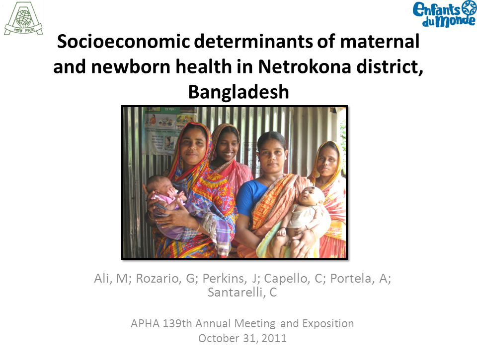 Socioeconomic determinants of maternal and newborn health in Netrokona district, Bangladesh Ali, M; Rozario, G; Perkins, J; Capello, C; Portela, A; Santarelli, C APHA 139th Annual Meeting and Exposition October 31, 2011