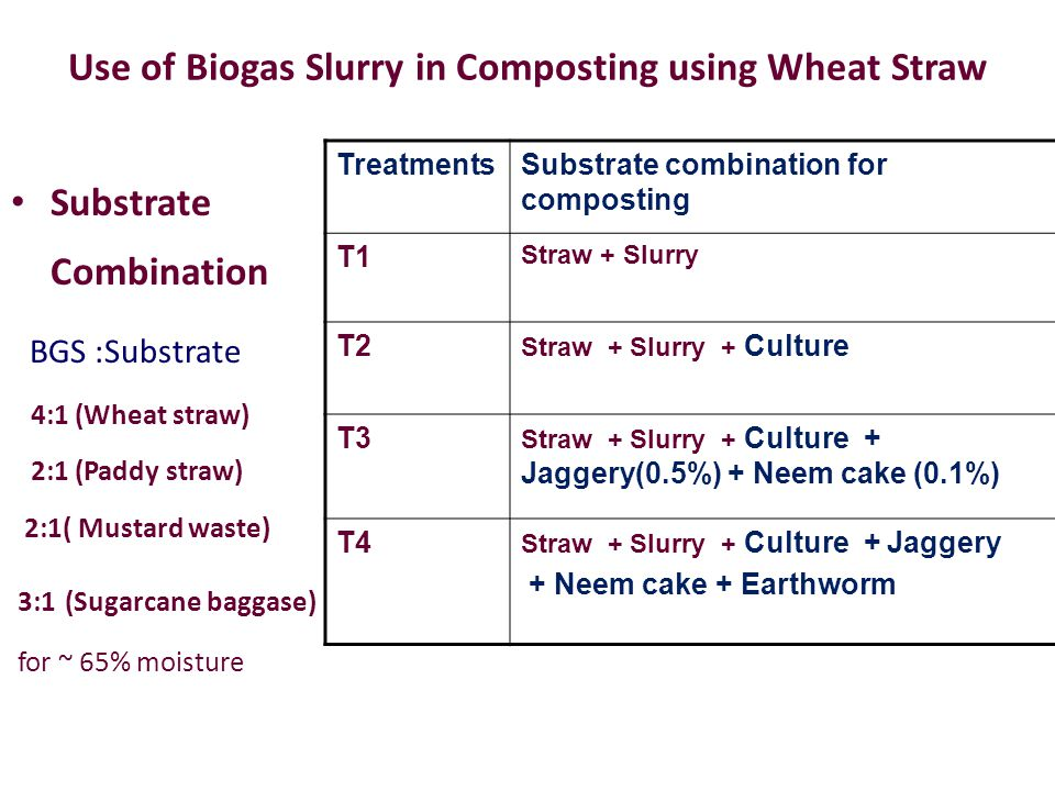 Use of Biogas Slurry in Composting using Wheat Straw Substrate Combination BGS :Substrate 4:1 (Wheat straw) 2:1 (Paddy straw) 2:1( Mustard waste) 3:1 (Sugarcane baggase) for ~ 65% moisture TreatmentsSubstrate combination for composting T1 Straw + Slurry T2 Straw + Slurry + Culture T3 Straw + Slurry + Culture + Jaggery(0.5%) + Neem cake (0.1%) T4 Straw + Slurry + Culture + Jaggery + Neem cake + Earthworm