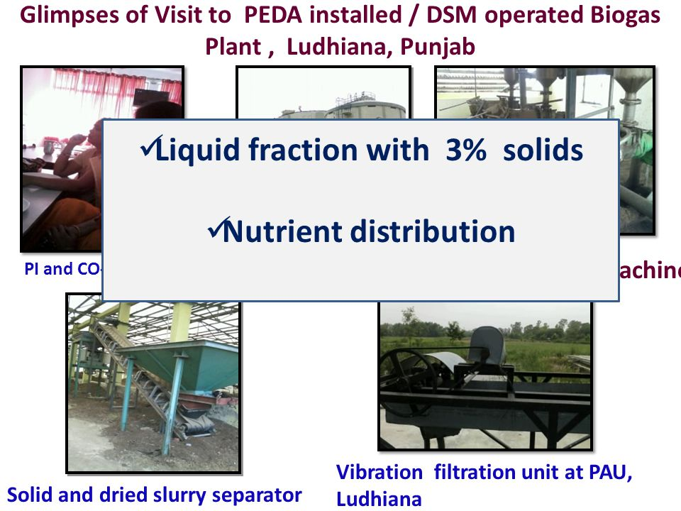 PI and CO-PI in PAU Solid and dried slurry separator Biogas Digester, 5000 M 3 Screw press Machine Vibration filtration unit at PAU, Ludhiana Glimpses of Visit to PEDA installed / DSM operated Biogas Plant, Ludhiana, Punjab Liquid fraction with 3% solids Nutrient distribution