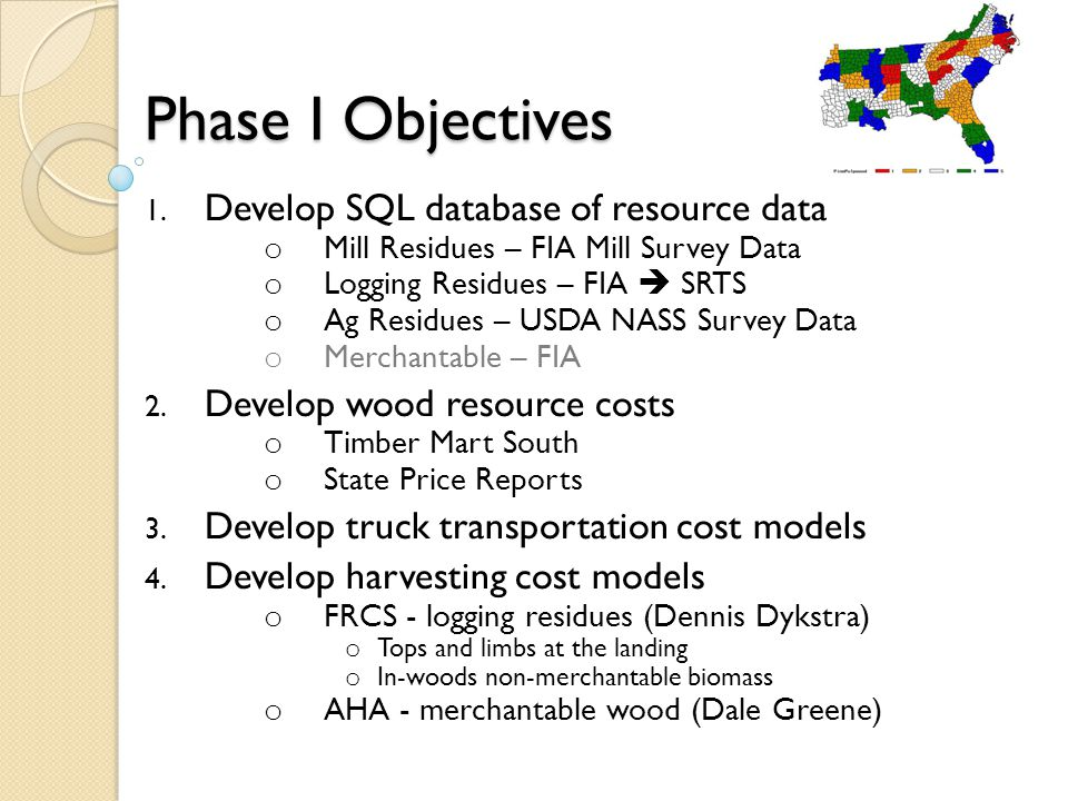Phase I Objectives 1.