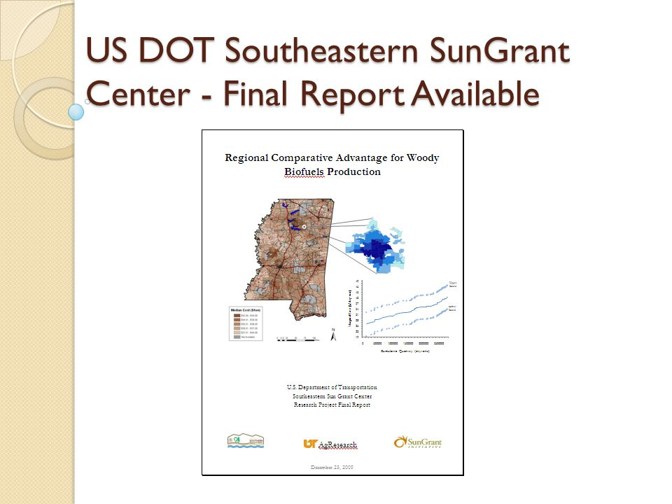 US DOT Southeastern SunGrant Center - Final Report Available